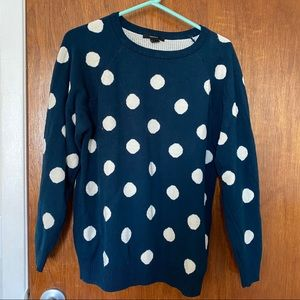Navy and White Polka Dot Sweater